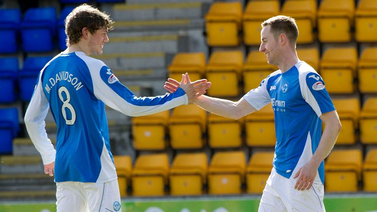 Murray Davidson (left): Celebrates his first-half header