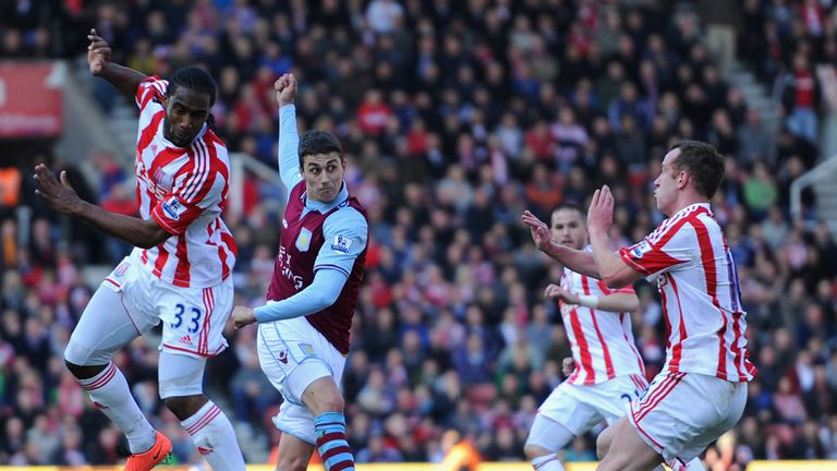 Matthew Lowton: Crashed home a stunning volley as Aston Villa saw off Stoke