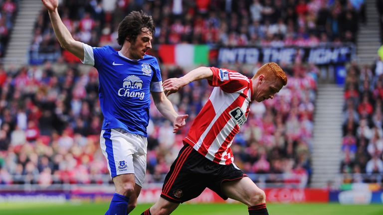Jack Colback in action against Everton defender Leighton Baines