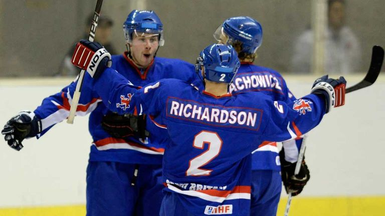 Great Britain stars celebrating scoring a goal
