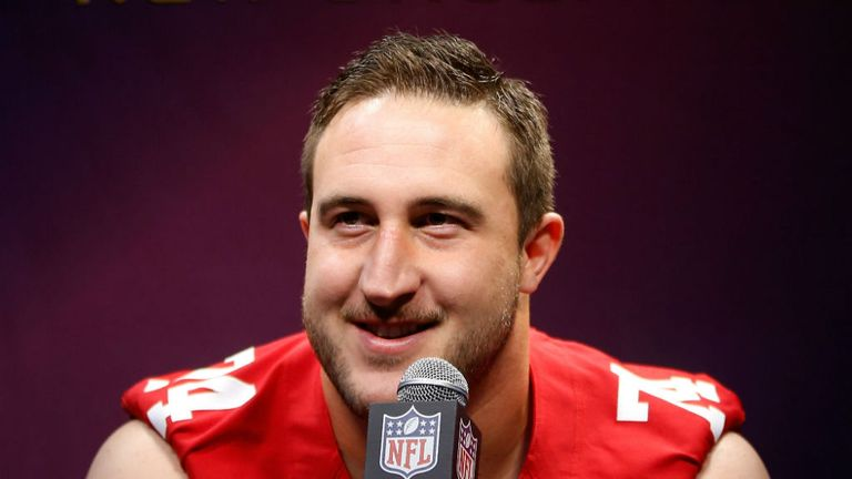 Joe Staley of the San Francisco 49ers talking before their Super Bowl appearance.