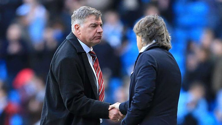 Sam Allardyce congratulates Roberto Mancini after Manchester City defeat West Ham