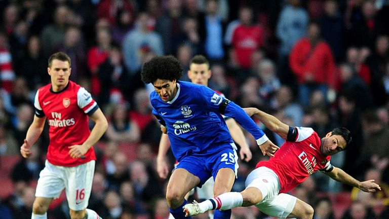 Marouane Fellaini: Everton midfielder in action against Arsenal in Tuesday's 0-0 draw