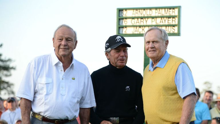 Three Augusta National legends: (L-R) Arnold Palmer, Gary Player and Jack Nicklaus