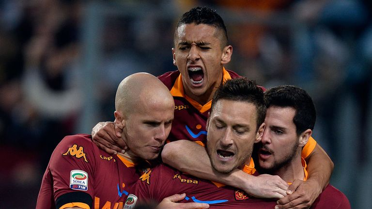 Francesco Totti: Celebrates his record-breaking leveller against Lazio