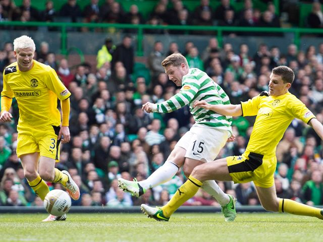 Kris Commons scores the opening goal for Celtic