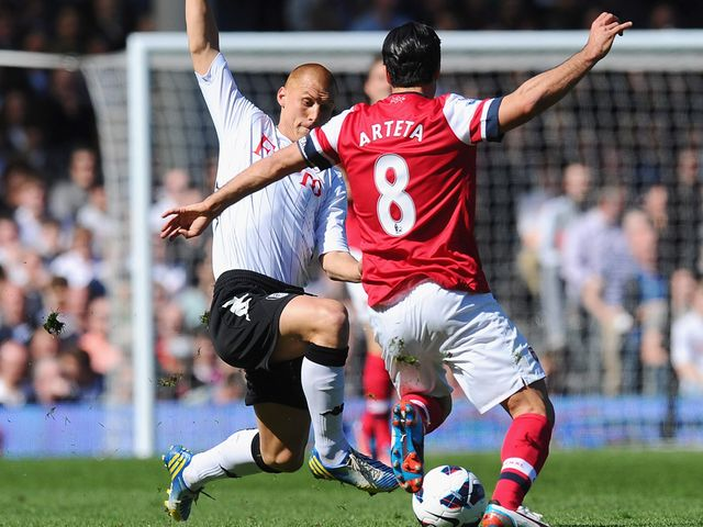 Steve Sidwell is sent off for this tackle on Mikel Arteta