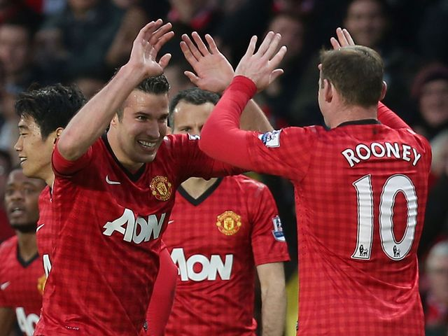 Robin van Persie scored a first-half hat-trick for Man United