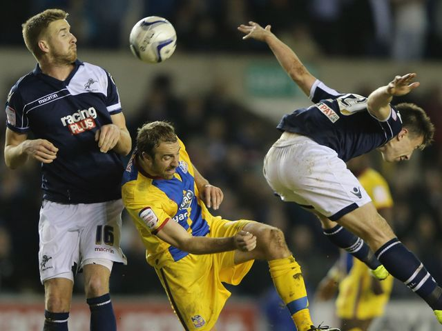 Palace's Glenn Murray is beaten to the ball