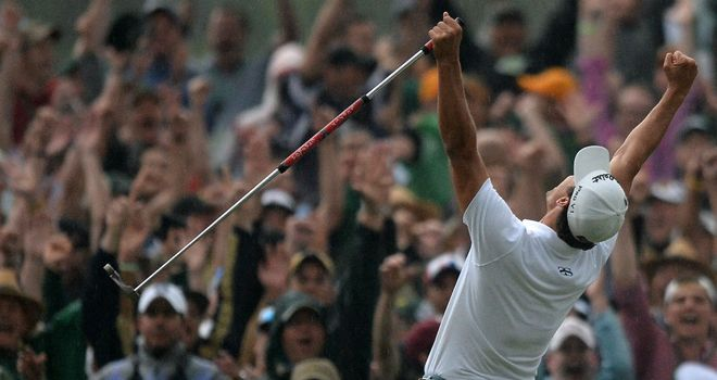 Adam Scott celebrates victory in 2013