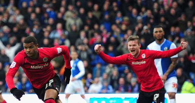 Fraizer Campbell (left): Scores for Cardiff against Blackburn