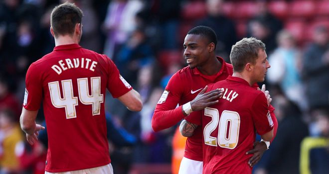 Jonathan Obika: Celebrates his late winner against Leeds