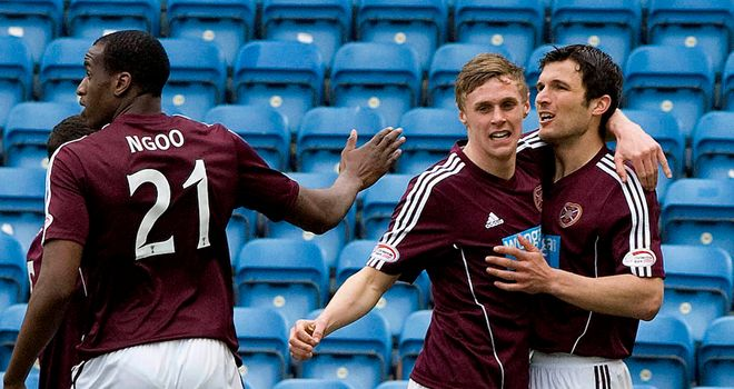 John Sutton: Celebrates after scoring the winner for Hearts at Kilmarnock