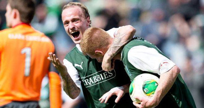 Leigh Griffiths and Eoin Doyle: Celebrate as Hibernian come back to win a classic semi-final