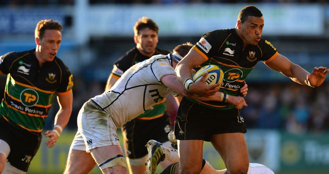 Northampton centre Luther Burrell bursts through the Sale defence
