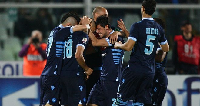 Napoli players celebrate at Pescara