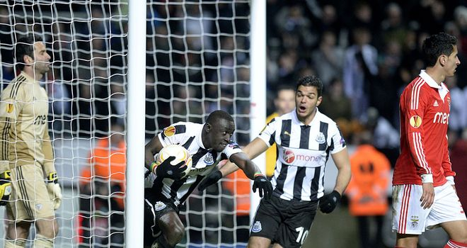 Papiss Cisse celebrates his goal with Hatem Ben Arfa