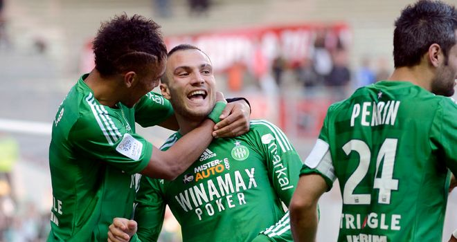 St Etienne celebrate against Ajaccio