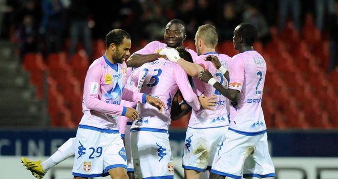 Evian celebrate Yannick Sagbo's strike