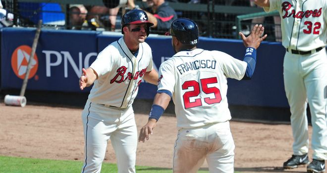 Juan Francisco (R) impressed with the bat as the Braves won again