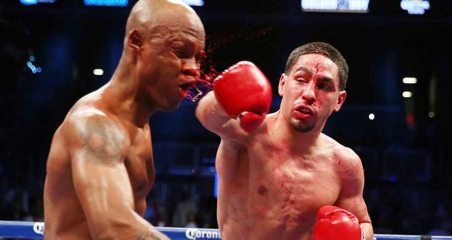 Zab Judah rocked by a heavy shot from Danny Garcia in Brooklyn