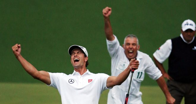 Adam Scott celebrates his Masters victory at Augusta in April