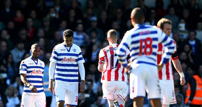QPR players show their disappointment in 2-0 home defeat to Stoke