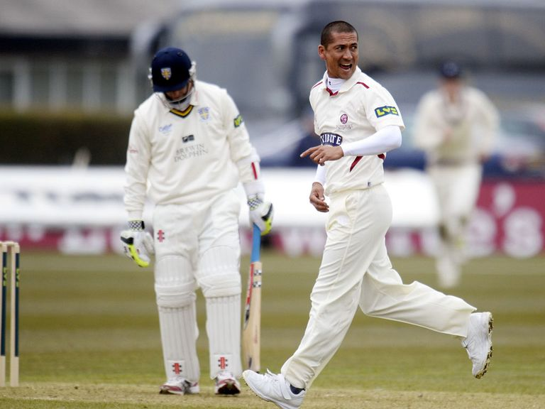 Alfonso Thomas celebrates taking a wicket