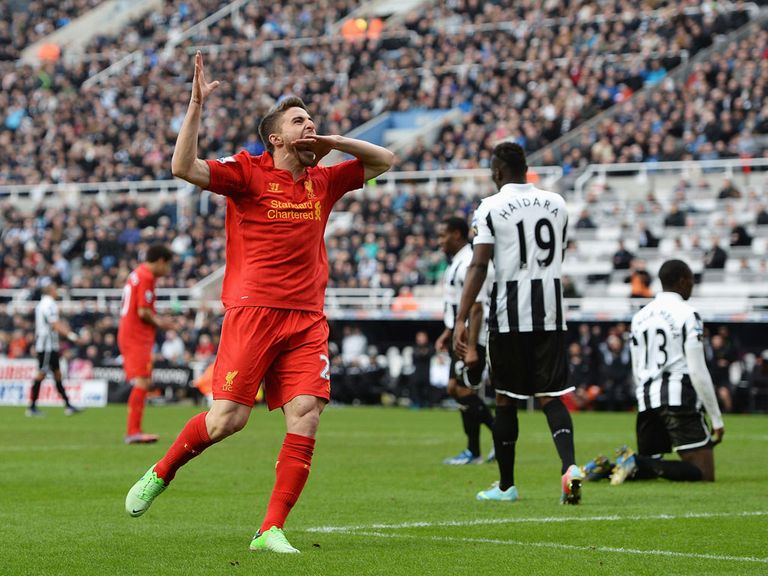 Fabio Borini celebrates his goal against Newcastle.