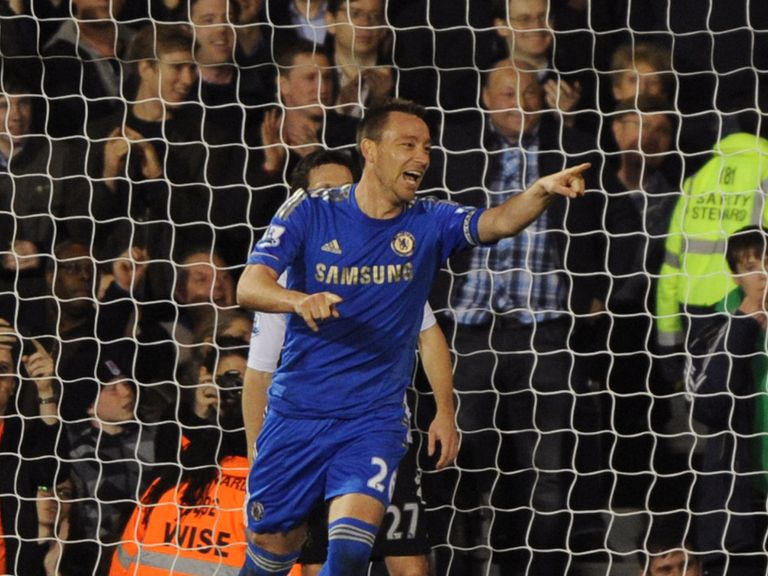 John Terry enjoys his double against Fulham.