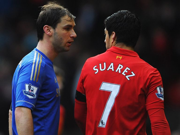 Suarez (r) has been banned for 10 games for biting Ivanovic