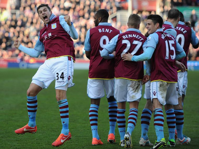 Lowton celebrates his goal for Villa, who are now 3/1 to go down