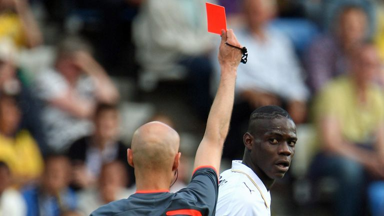 Mario Balotelli: Sent off for Italy U21s in 2-1 win over Sweden in 2009