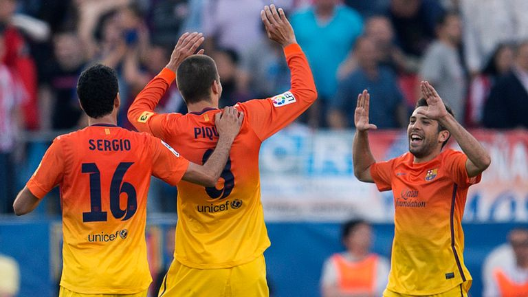 Barcelona celebrate after taking the lead