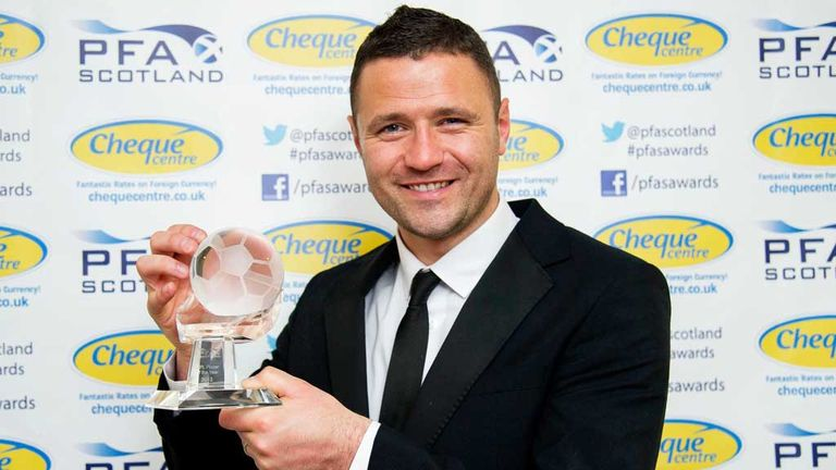 Michael Higdon: Motherwell striker with his PFA Scotland award
