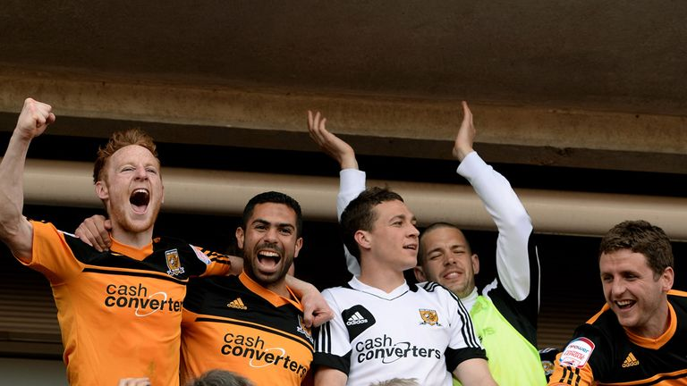 Hull players celebrate promotion to Premier League