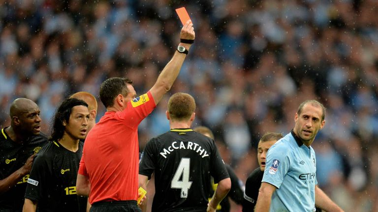 Pablo Zabaleta: Became only the third man to be sent off in an FA Cup final