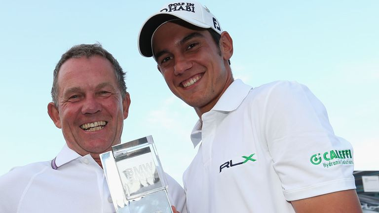 Matteo Manassero with caddie David McNeilly following Sunday's victory at Wentworth