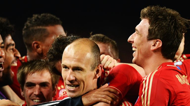 Arjen Robben: Celebrates his goal in the Camp Nou