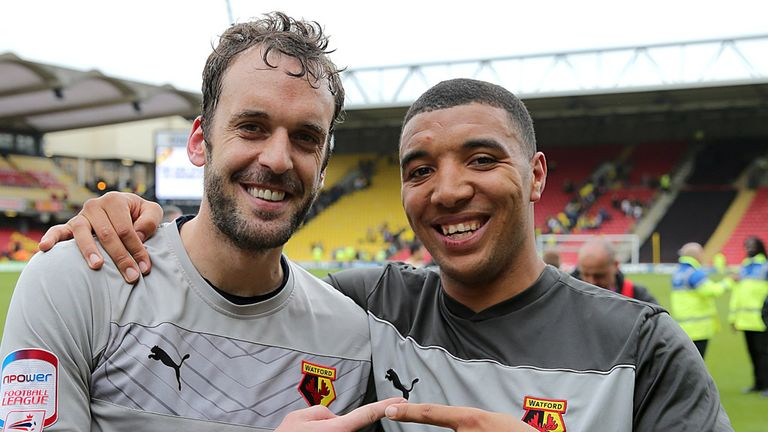 Manuel Almunia: Watford goalkeeper celebrates win over Leicester with Troy Deeney