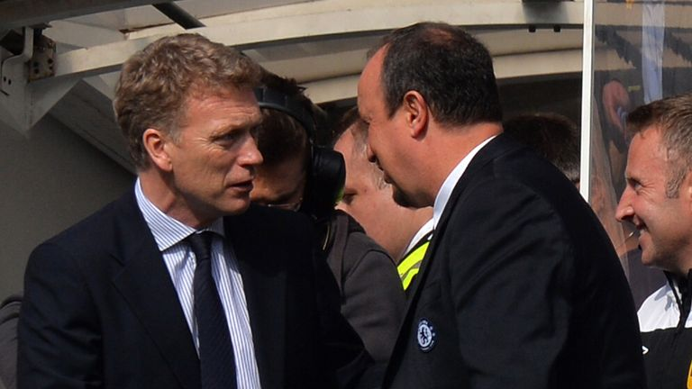 Rafa Benitez: Greeted David Moyes - but will he face him next season?