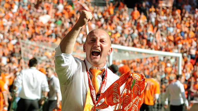 Blackpool's manager Ian Holloway celebrates in 2010
