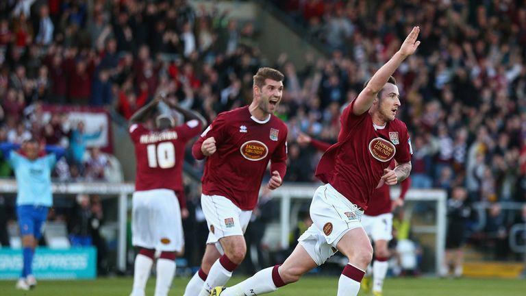 Roy O'Donovan: Celebrates goal for Northampton