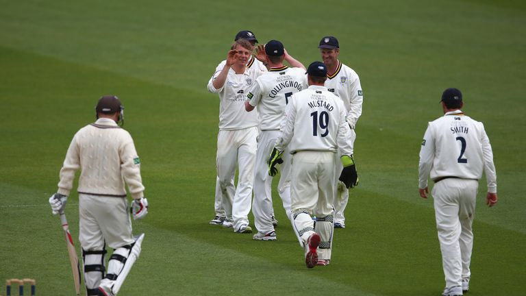 Durham celebrate taking the wicket of Gareth Batty