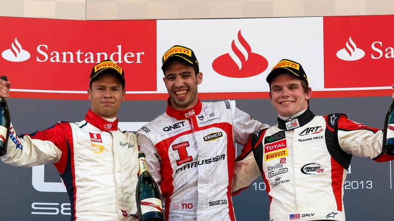 The Race 1 podium: (L-R) Patric Neiderhauser, Tio Ellinas andConor Daly (Image: GP3 Series Media)