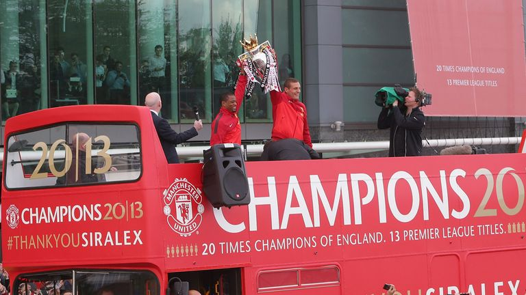 Nemanja Vidic and Patrice Evra: Manchester United duo parade the Premier League trophy last May