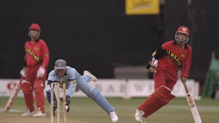 Alec Stewart runs out Andy Waller back in 1997