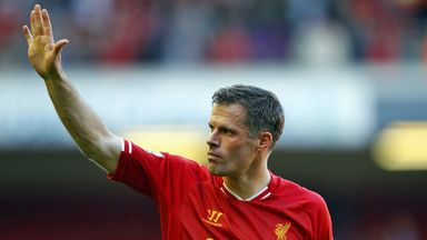 Jamie Carragher waves farewell to Anfield