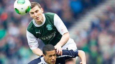 Paul Hanlon (top) in action during Hibernian's victory over Falkirk in the Scottish Cup semi-final