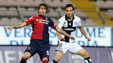 Daniele Conti (left): Proud to have been at Cagliari since 1999 and is not thinking of joining Leeds